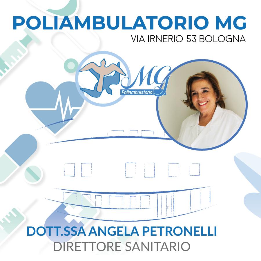 Dott.ssa Angela Petronelli – specialista in Oncologia e Gastroenterologia Direttore Sanitario Poliambulatorio MG